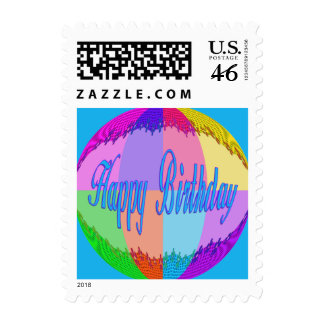 Colorful Happy Birthday Postage Stamp