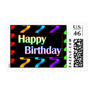 Colorful Happy Birthday Postage Stamps