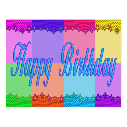 Colorful Happy Birthday Postcard