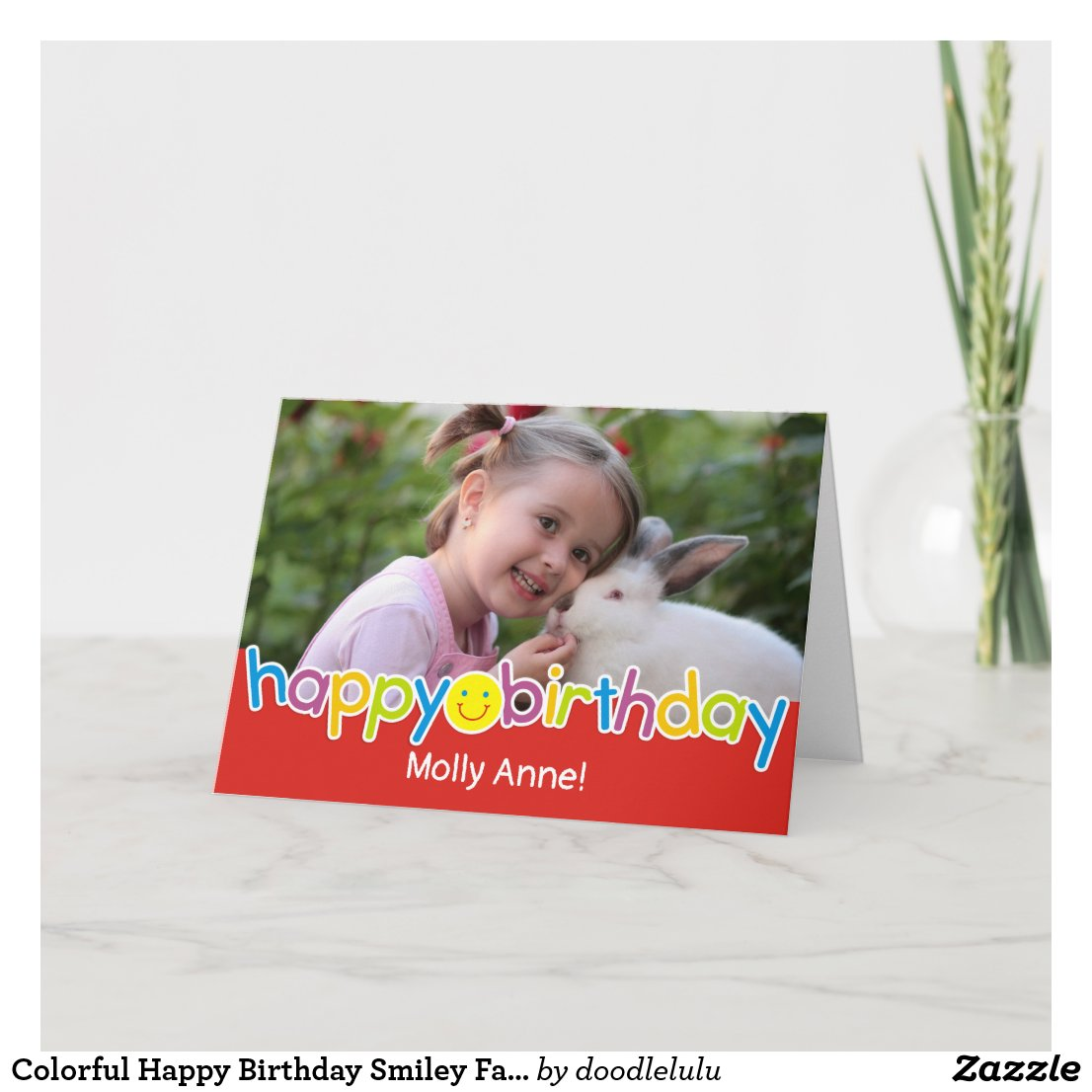 Colorful Happy Birthday Smiley Face Card