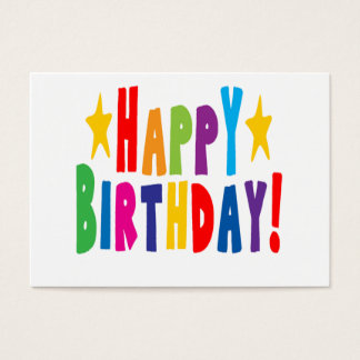 Colorful Happy Birthday Text Business Card