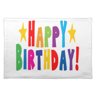 Colorful Happy Birthday Text Cloth Placemat