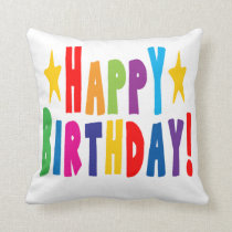Colorful Happy Birthday Text Throw Pillow