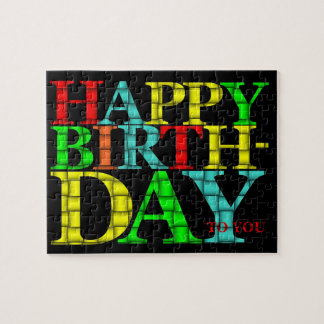 Colorful Happy Birthday Text with Black Background Jigsaw Puzzle