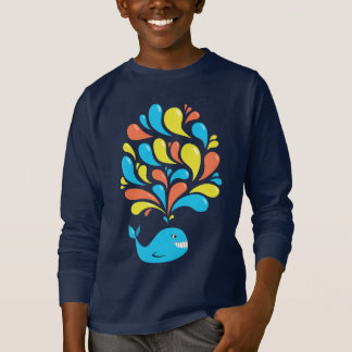 Colorful Happy Cartoon Whale Dark Kids Long Sleeve T-Shirt