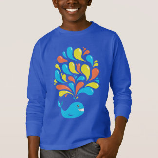 Colorful Happy Cartoon Whale Dark Kids Long Sleeve T-Shirt