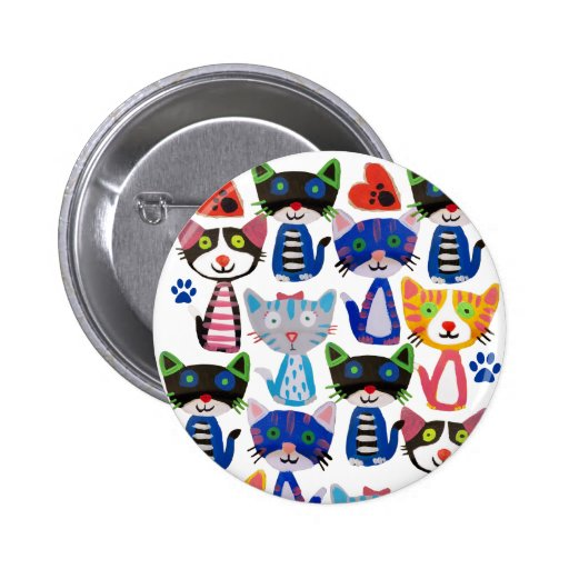 colorful happy cats button