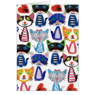 colorful happy cats greeting card
