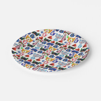 colorful happy cats pattern paper plate