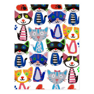 colorful happy cats postcard