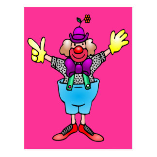 Colorful Happy Clown Postcard