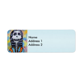Colorful Happy Day of the Dead Skeleton Label