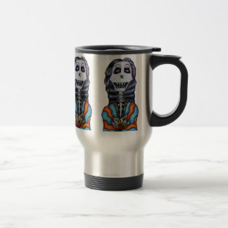 Colorful Happy Day of the Dead Skeleton Travel Mug