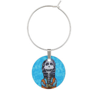 Colorful Happy Day of the Dead Skeleton Wine Glass Charm