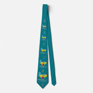 Colorful Happy Easter Chicks Greeting Teal Tie