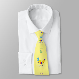 Colorful Happy Easter Chicks Greeting Yellow Tie