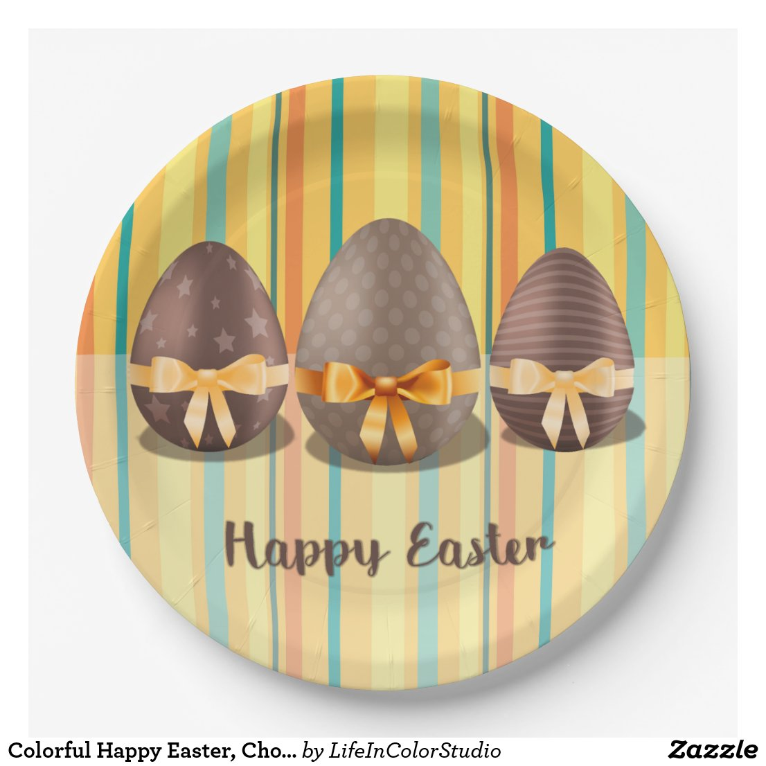 Colorful Happy Easter, Choco Easter Eggs Paper Plate