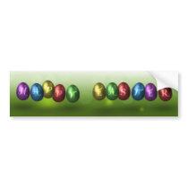 Colorful Happy Easter Eggs - Bumper Sticker