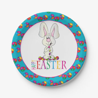Colorful Happy Easter Jelly Beans Bunny Paper Plate