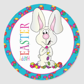 Colorful Happy Easter Jelly Beans Classic Round Sticker