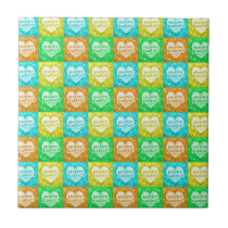 Colorful Happy Easter Pattern Tile