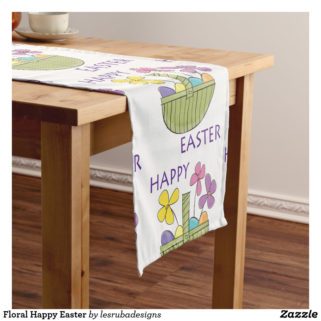 Colorful Happy Easter Short Table Runner