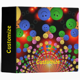 Colorful Happy Face Smiley Spiral Binder