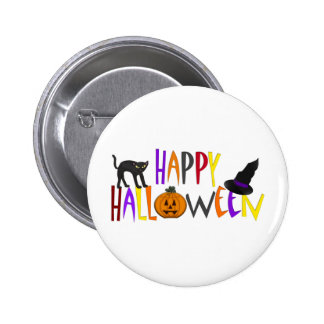 Colorful Happy Halloween Pinback Button