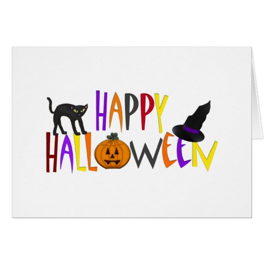 Colorful Happy Halloween Card