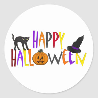 Colorful Happy Halloween Classic Round Sticker