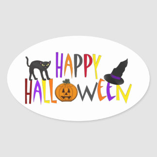 Colorful Happy Halloween Oval Sticker