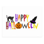 Colorful Happy Halloween Post Card