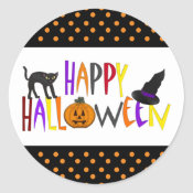 Colorful Happy Halloween Sticker