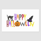 Colorful Happy Halloween Rectangle Sticker
