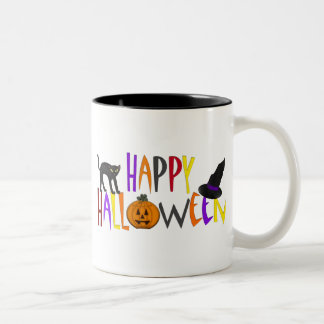 Colorful Happy Halloween Two-Tone Coffee Mug