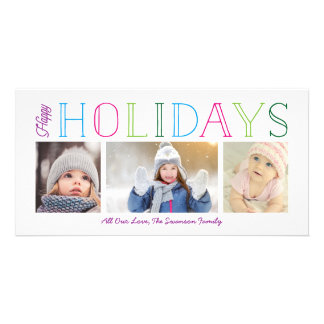 Colorful Happy Holidays 3-Photo Card
