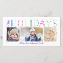 Colorful Happy Holidays 3-Photo Holiday Card