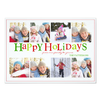 Colorful Happy Holidays Eight Photo Greeting Card