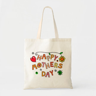 Colorful Happy Mothers Day Budget Tote Bag