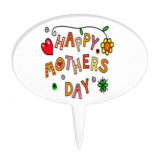 Colorful Happy Mothers Day Cake Topper