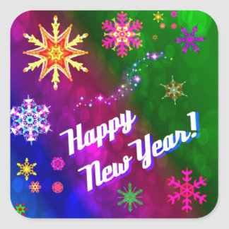 Colorful Happy New Happy Year Square Sticker