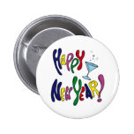 Colorful Happy New Year 2 Inch Round Button