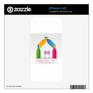 Colorful happy new year card decals for the iPhone 4