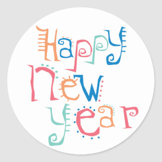 Colorful Happy New Year Classic Round Sticker