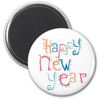 Colorful Happy New Year Fridge Magnet