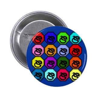 Colorful Happy New Year of the Snake Pop Art Pinback Buttons