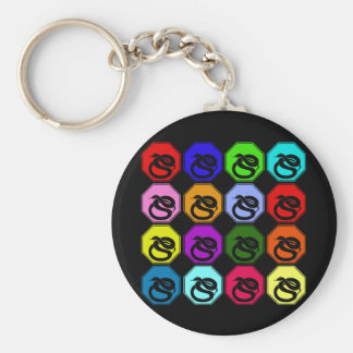 Colorful Happy New Year of the Snake Pop Art Basic Round Button Keychain