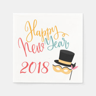 Colorful Happy New Year party mask and hat 2018 Paper Napkin
