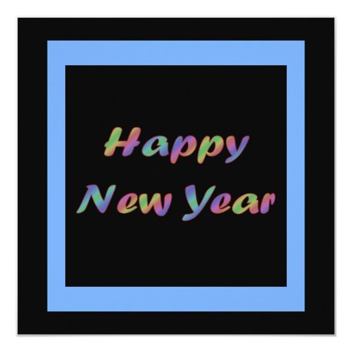 Colorful Happy New Year Personalized Invitation