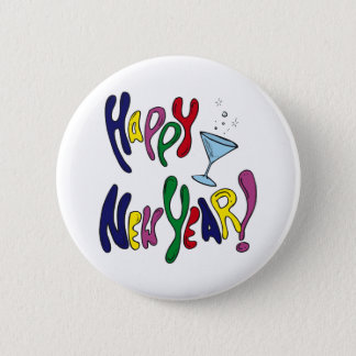 Colorful Happy New Year Pinback Button